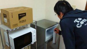 レンタルで納品した冷蔵庫とお客様の写真